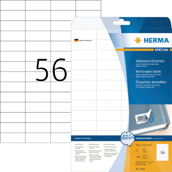 Etiket herma superprint 5080 52.5x21.2mm 1400st