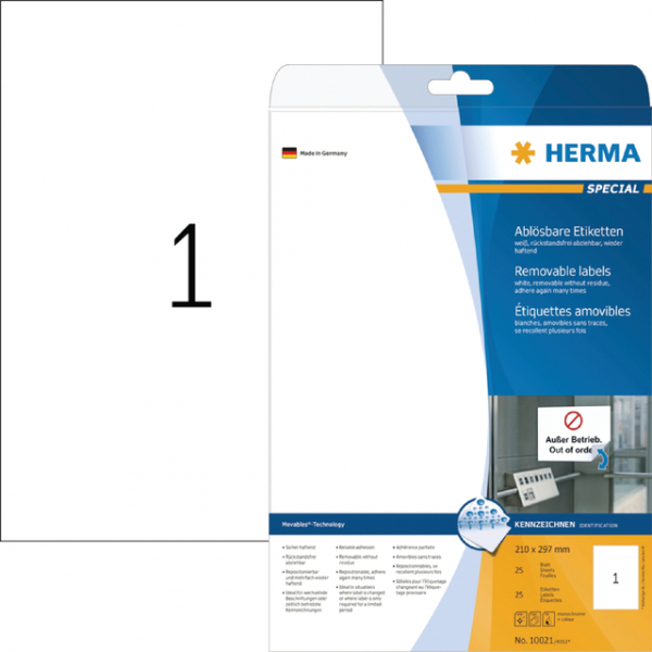 Etiket herma movable 10021 210x297mm a4 25st