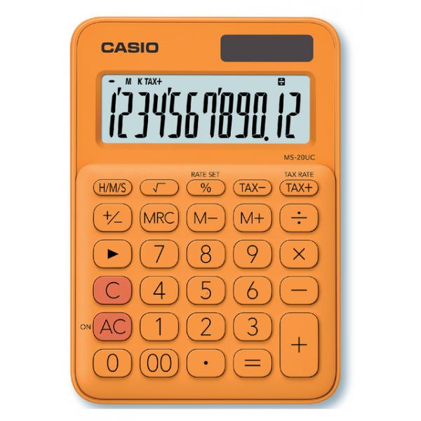 Rekenmachine casio ms-20uc oranje(ms20uc-rg)
