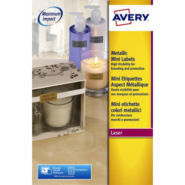 Etiket avery l7690-25 38.1x21.2mm zilver 1625st