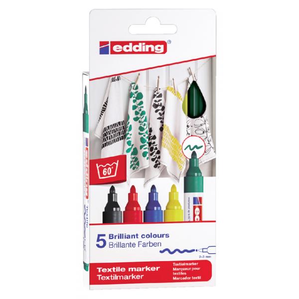 Viltstift edding 4500 textiel rond 2-3mm basis ass(4-4500-5s