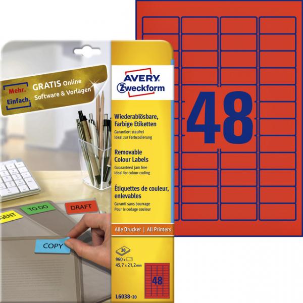 Etiket avery l603820 45.7x21.2mm rood 960st