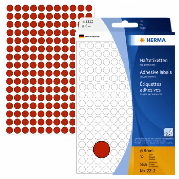 Etiket herma 2212 rond 8mm 5632st rood