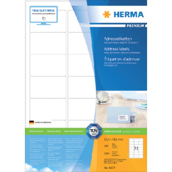 Etiket herma superpr 4677 63.5x38.1mm 2100st