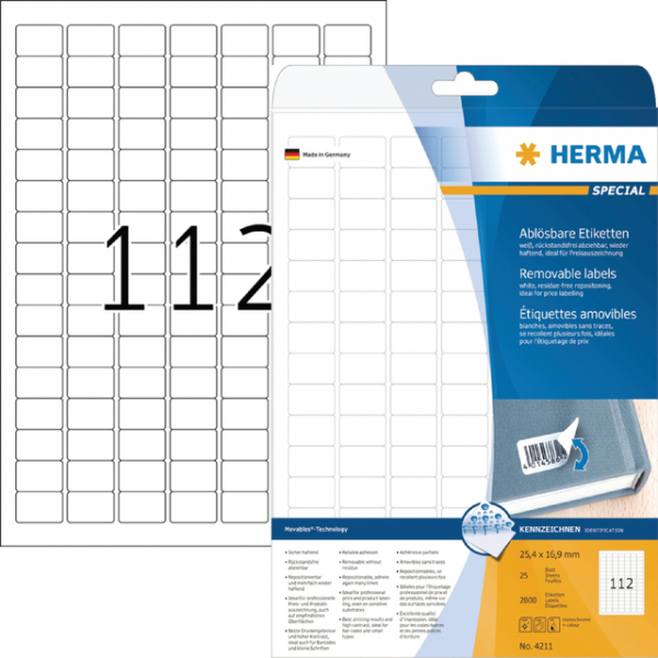 Etiket herma superprint 4211 25.4x16.9mm 2800st