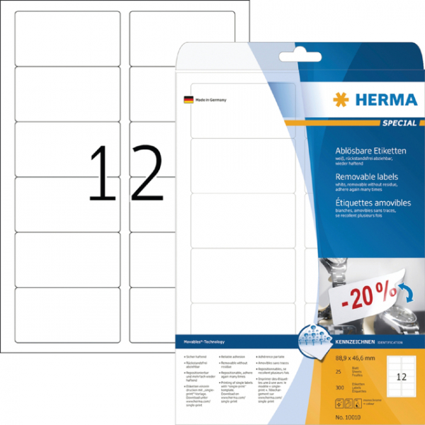 Etiket herma movable 10010 88.9x46.6mm 300st