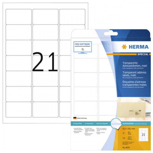 Etiket herma 8670 a4 63.5x38.1mm trsp mat 525st(8670)