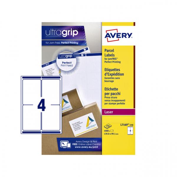 Etiket avery l7169-250 99.1x139mm 1000st