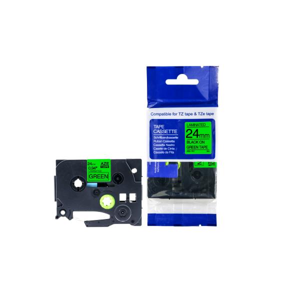 Compatible Lettertape brother TZE-751 24mm zwart groen