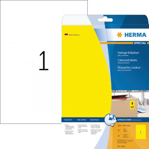 Etiket herma superprint 4421 a4 geel 25st