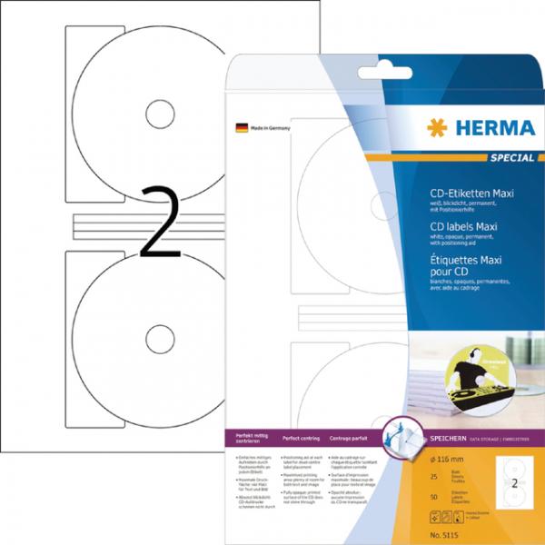 Etiket herma superprint 5115 cd 116mm 50st