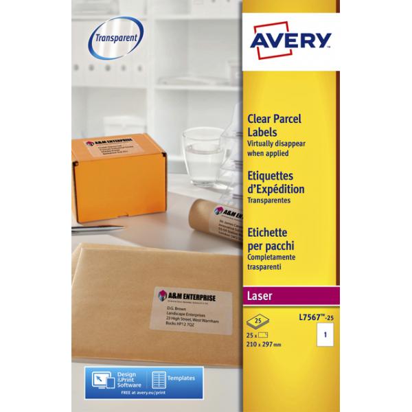 Etiket avery l7567-25 210x297mm transp 25st