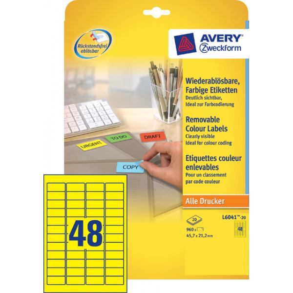 Etiket avery l6041-20 45.7x21.2mm geel 960st