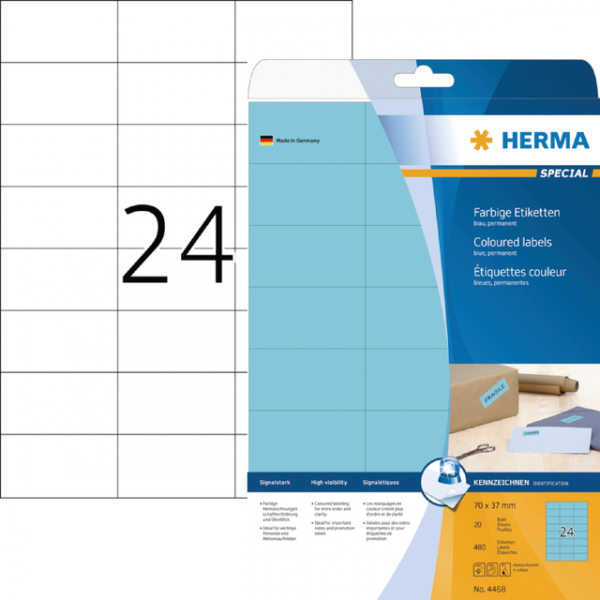 Etiket herma superprint 4468 70x37mm blauw 600st
