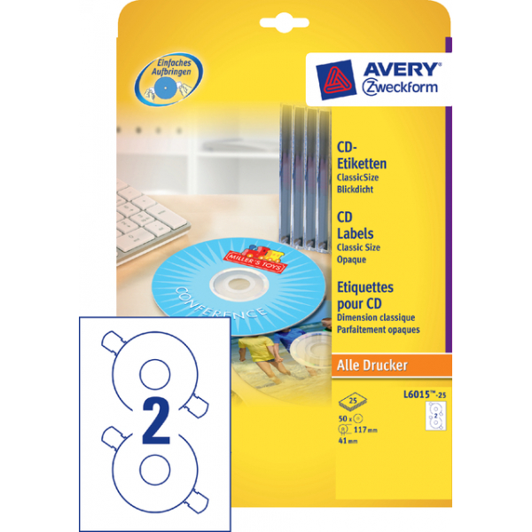 Etiket avery cd l6015-25 50st