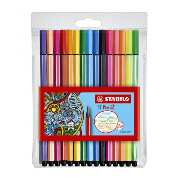Viltstift stabilo 68 10+5 neon(6815-2)