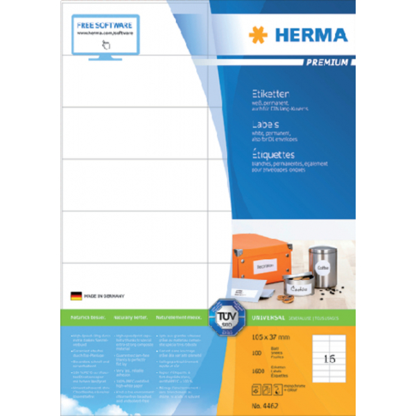 Etiket herma superprint 4462 105x37mm 1600st