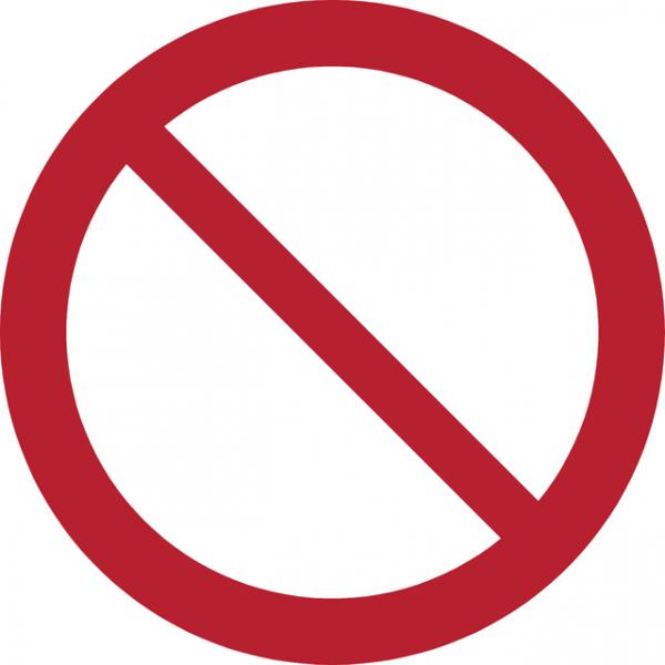 Pictogram tarifold algemeen verbod 200mm(7540002)