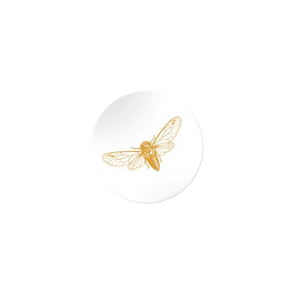 Etiket, vlinder, rond 45mm, goud (1000 stuks)
