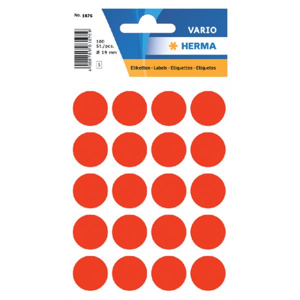 Etiket herma 1876 rond 19mm 100st fluor rood