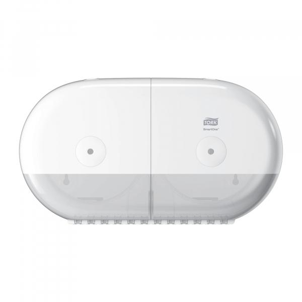 Tork Smart one, twin toiletpapier dispenser, wit, T9, 682000