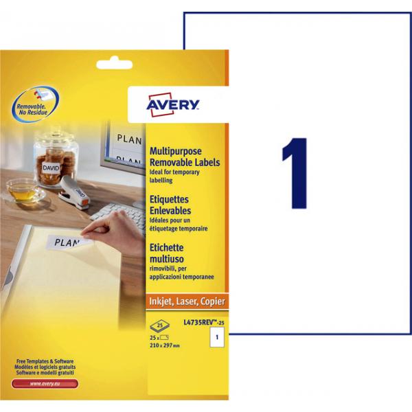 Etiket avery l4735rev-25 210x297mm 25st