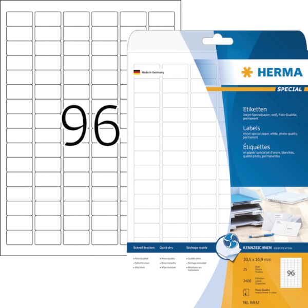 Etiket herma inkprint 8832 30.5x16.9mm 2400st