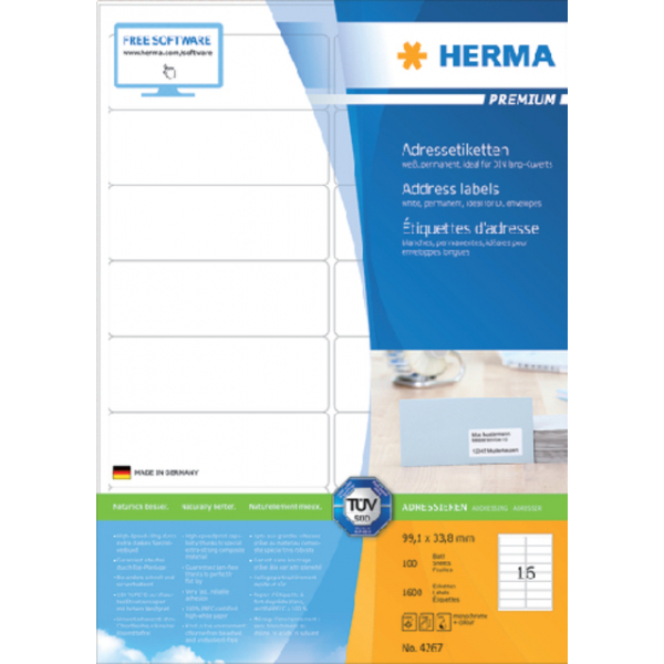 Etiket herma superprint 4267 99.1x33.8mm 1600st