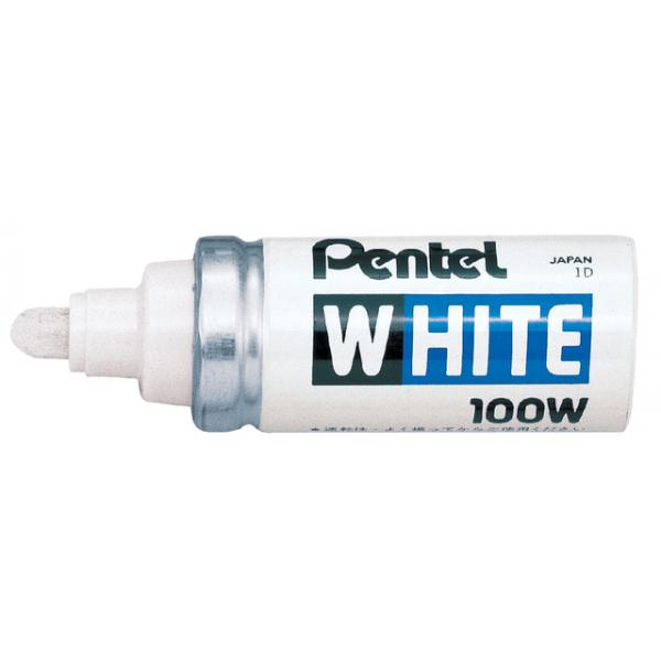 Viltstift pentel 100w lak perm rond 4mm wit