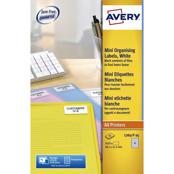 Etiket avery l7651y-25 38.1x21.2mm neon geel 1625s