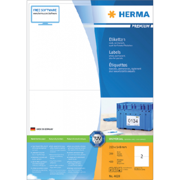 Etiket herma superprint 4628 210x148mm 400st