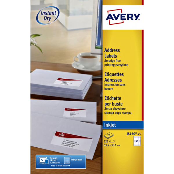 Etiket avery j8160-10 63.5x38.1mm 210st