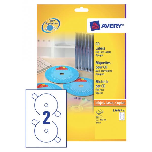Etiket avery cd l7676-25 laser inkjet opaak