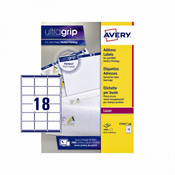 Etiket avery l7161-100 63.5x46.6mm 1800st