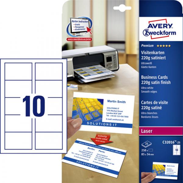 Visitekaart avery c32016-25 85x54mm satijn 250st