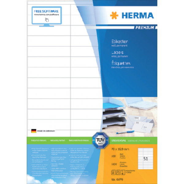 Etiket herma superprint 4459 70x16.9mm 5100st