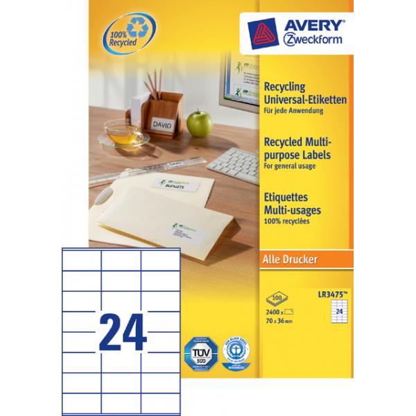 Etiket avery zweck lr3475 70x36mm 2400st recycled(lr3475)