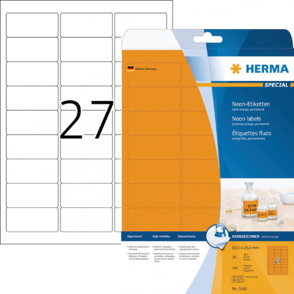 Etiket herma superprint 5141 63.5x29.6mm oranje