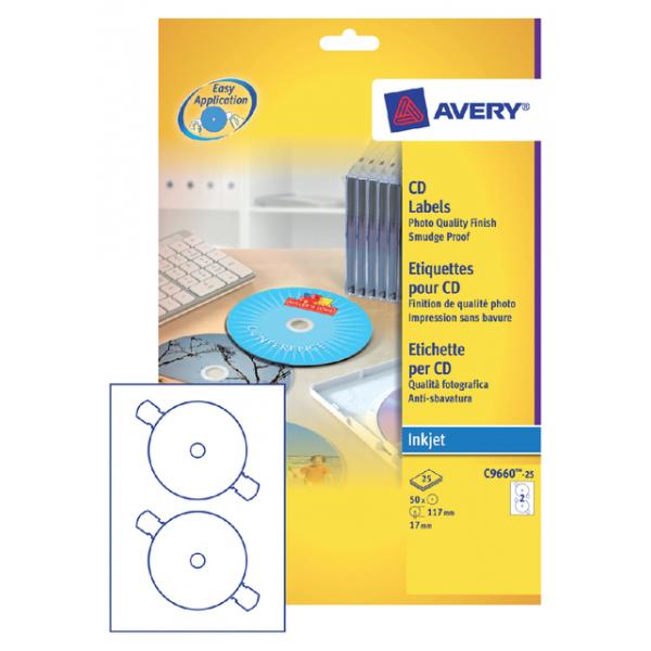 Etiket avery cd c9660-25 hoog glans 50st