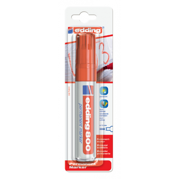Viltstift edding 800 perm schuin 4-12mm rood