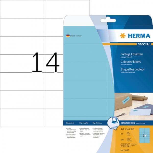 Etiket herma superprint 5060 105x42.3mm blauw 350s