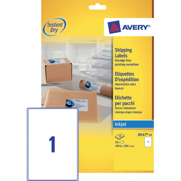 Etiket avery j8167-10 199.6x289.1mm 10st
