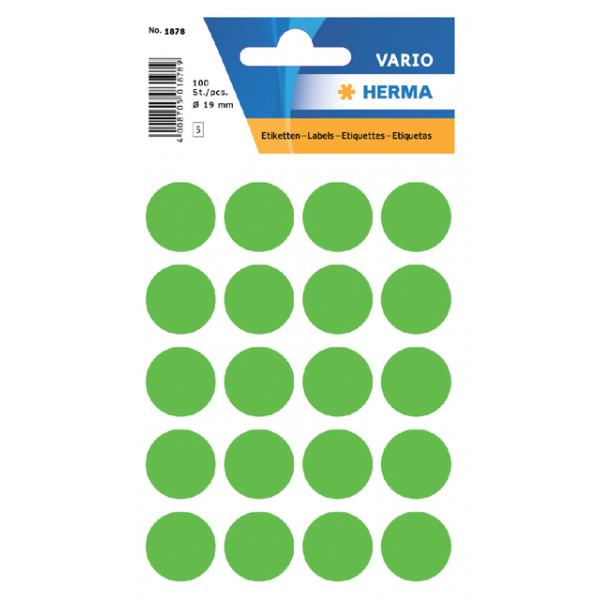 Etiket herma 1878 rond 19mm 100st fluor groen
