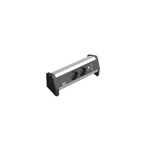 DESK 1 opbouwunit, bladklem 2x 230V, 1x duo USB charger met