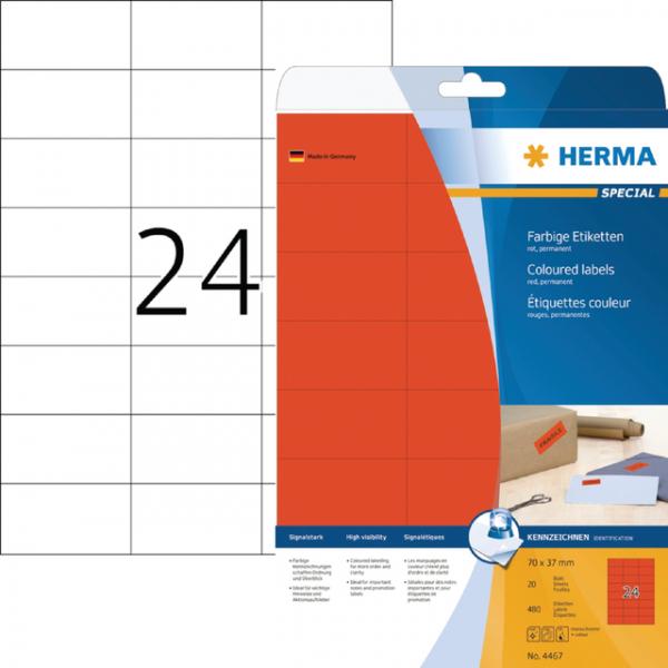 Etiket herma 4467 70x37mm verwijderbaar rood 480st(4467)