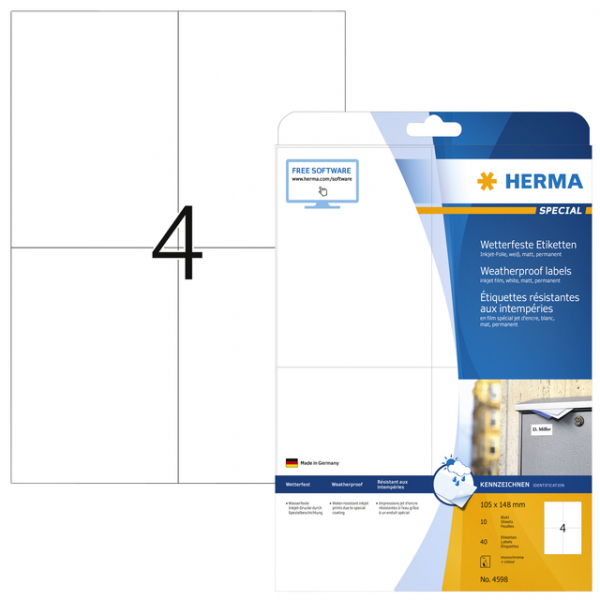 Etiket herma 4598 105x148mm a4 polyester wit(4598)