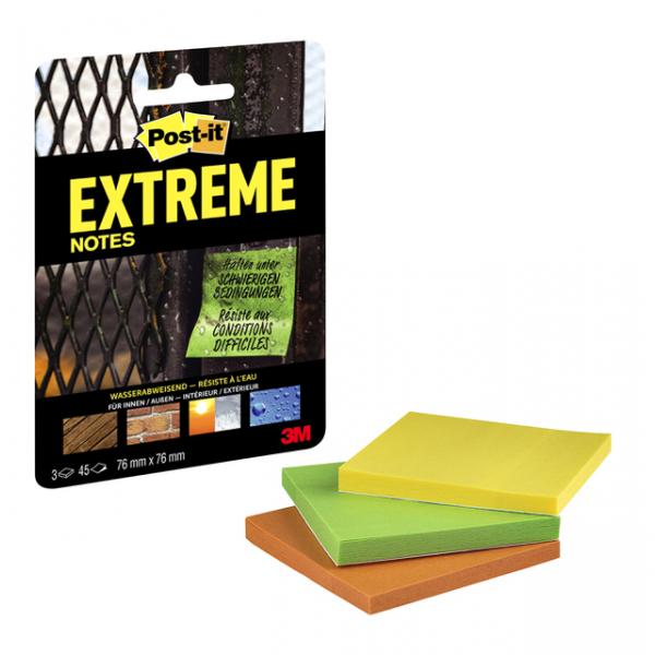 Memoblok post-it extreme 76x76mm 3 kleuren(ext33m-3-frge)