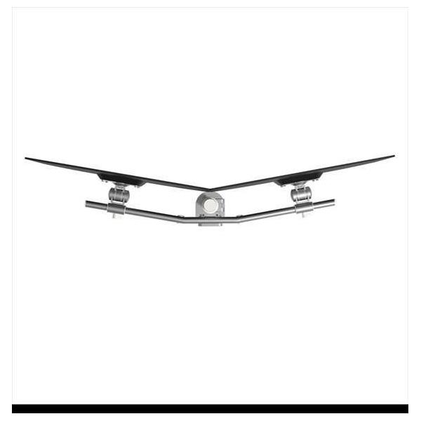Viewmate monitorarm 64 dubbel zilver, crossbar in ds achter