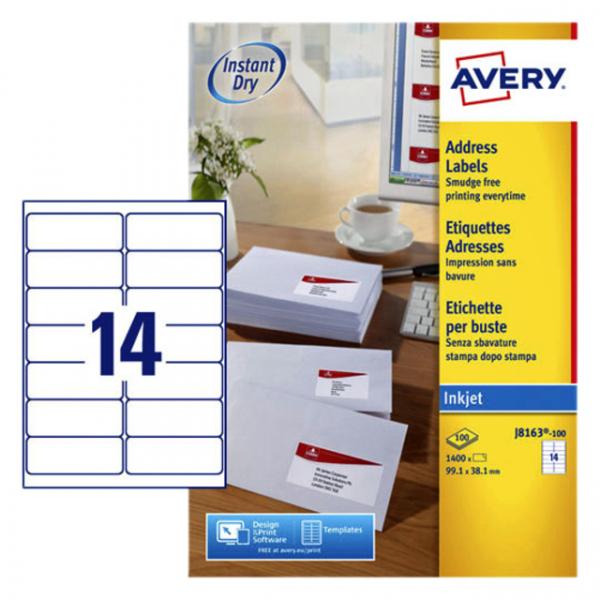 Etiket avery j8163-100 99.1x38.1mm 1400st