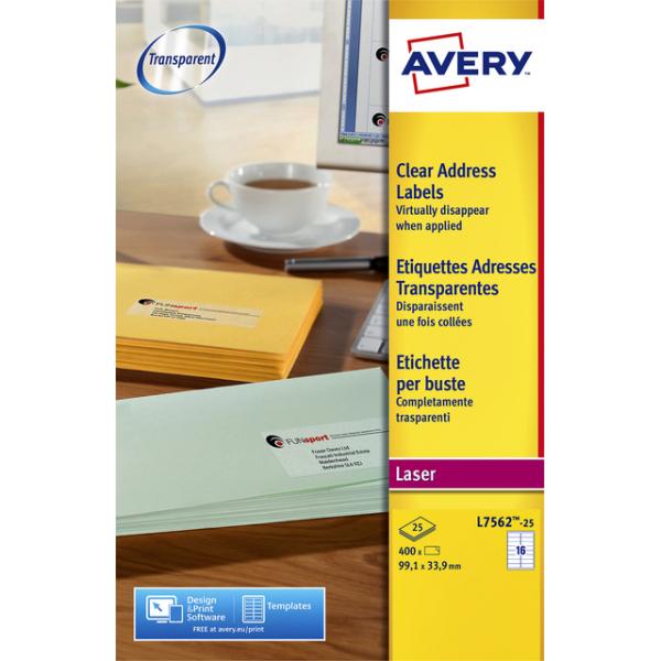 Etiket avery l7562-25 99.1x33.9mm transp 400st